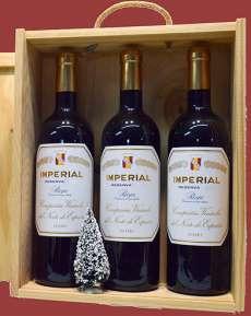 Rotwein 3 Imperial  en caja de madera