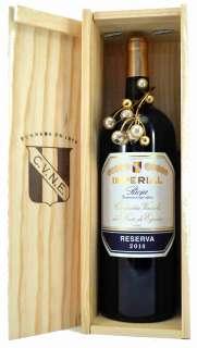 Rotwein Magnum Imperial  en caja de madera